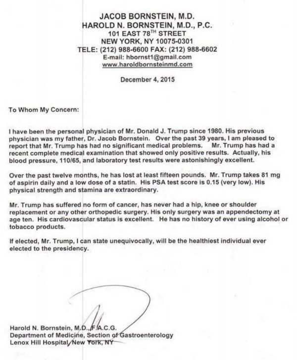De brief van Dr Bornstein in 2015