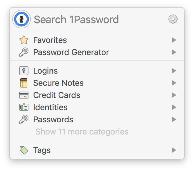 1Password's mini window, available via keyboard shortcut
