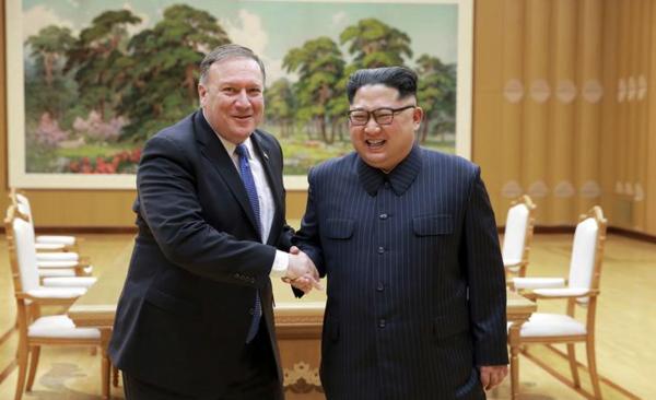Minister Pompeo van Buitenlandse Zaken ontmoette afgelopen week voor de tweede keer de Noord-Koreaanse leider Kim Jong-un (foto: Korean Central News Agency)