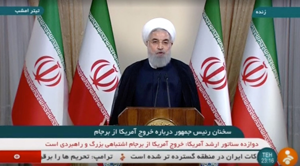 De Iraanse president Rouhani reageert op de Iraanse televisie op het besluit van Trump (foto: Reuters)