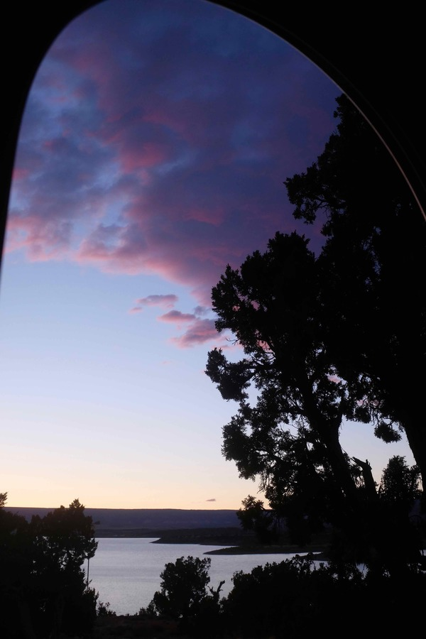 I love looking out my camper door. This shot is over Abuquiu Lake at sunset.