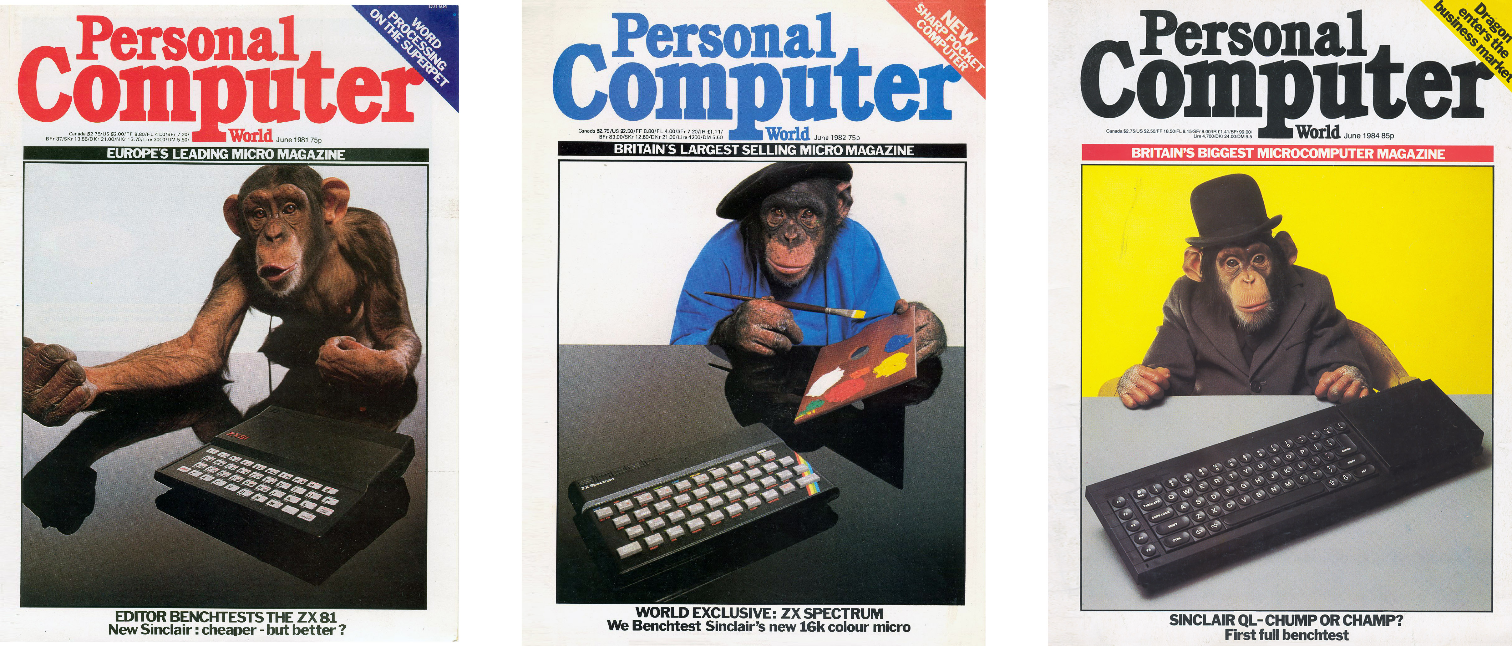 ZX81, ZX Spectrum, and QL on the cover of a popular magazine. Don't ask me about the chimpanzee; Britain is weird.