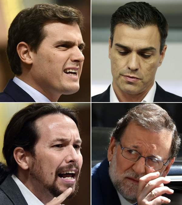 Leiders onder vuur. Albert Rivera (links boven), Pedro Sanchez (rechts boven), Pablo Iglesias (links onder) en Mariano Rajoy (recht onder)