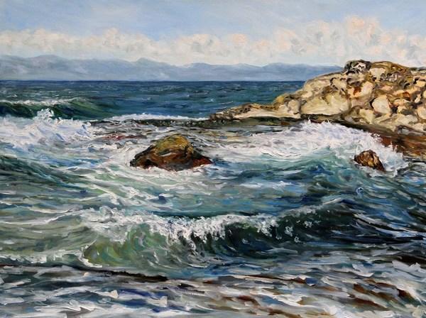 Catching Waves Georgina Point Mayne Island B.C. 30 x 40 inches