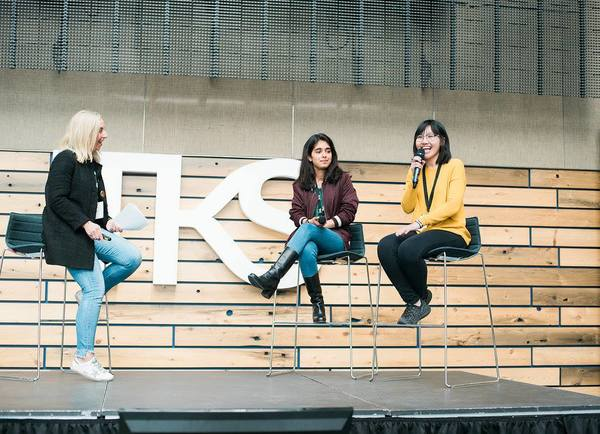 From left to right: Jodi Kovitz (Founder & CEO of #movethedial), Tanisha Bassan (TKS Student, Quantum Computing), Hannah Le (TKS Student, Genetic Engineering)