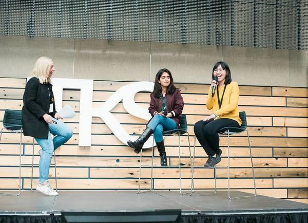 From left to right: Jodi Kovitz (Founder & CEO of #movethedial), Tanisha Bassan (TKS Student, Quantum Computing), Hannah Le (TKS Student, Genetic Engineering)