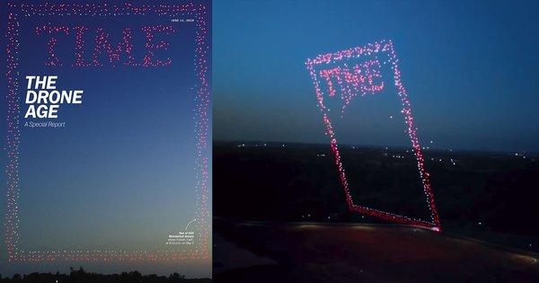 Das neue TIME-Cover ist ein Drohnenfoto, auf dem 958 Drohnen zu sehen sind