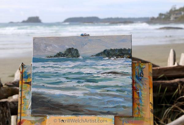 Plein air painting on Chesterman Beach BC