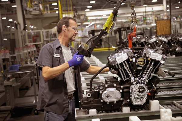 De productie van Harley Davidson-motoren