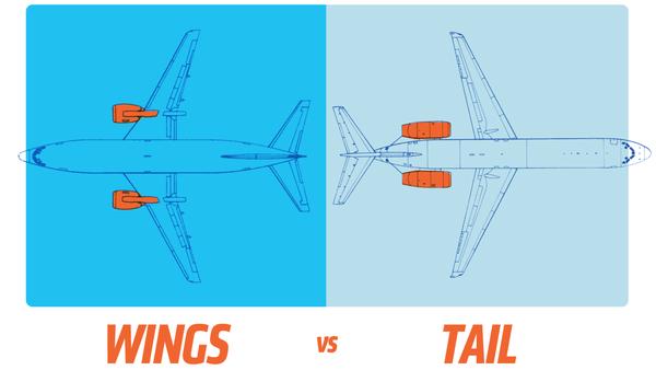 Warum Flugzeug-Turbinen manchmal unter den Flügeln und manchmal am Heck angebracht sind