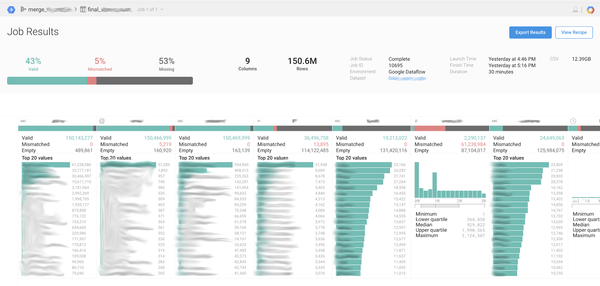 Job results is a convenient tool for reporting on the success of Dataprep's work.