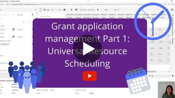 Grant application management part 1: Universal Resource Scheduling - YouTube