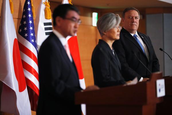 Minister Pompeo vertrok na de top meteen naar Seoul voor gesprekken met zijn Zuid-Koreaanse en Japanse collega's (foto: Reuters)