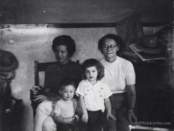 My mother, younger brother, me and my grandmother.