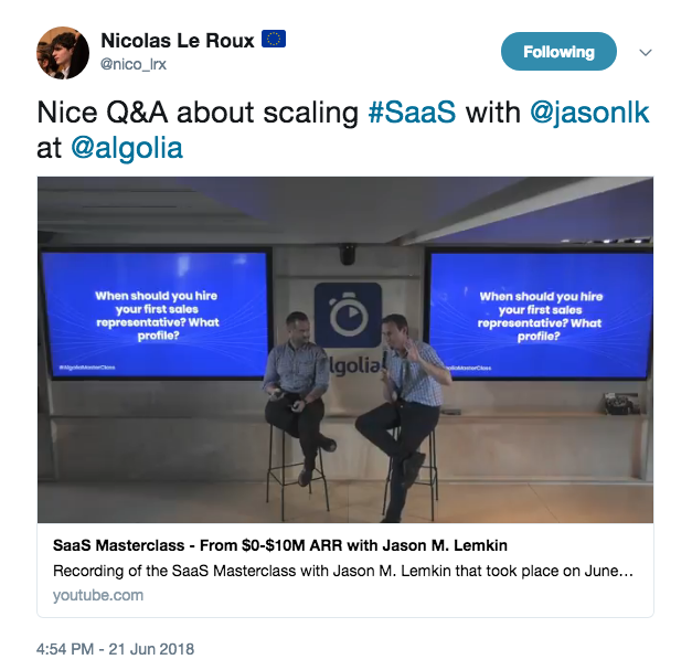 Check out this SaaS growth masterclass with Algolia and Jason Lemkin