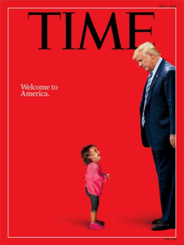 Een bewerkte afbeelding van het huilende meisje belandde deze week op de coverpagina van Time magazine (foto: Time)