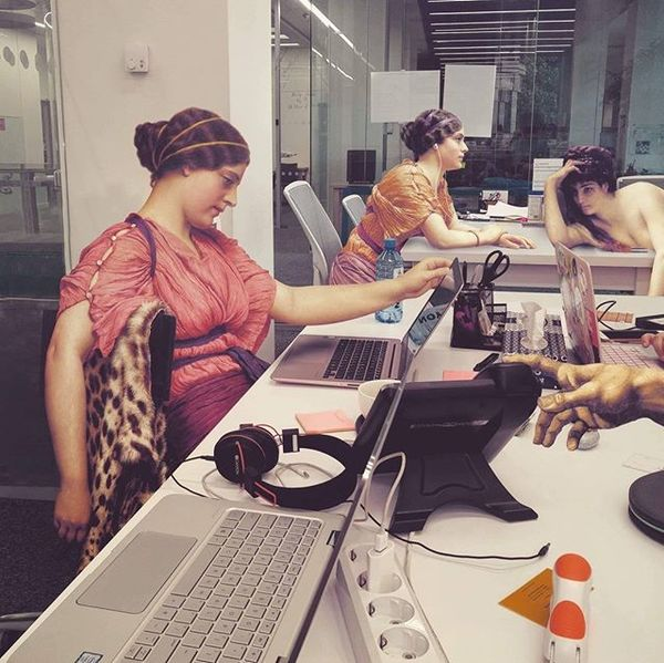 Early 20th century ladies in a modern office