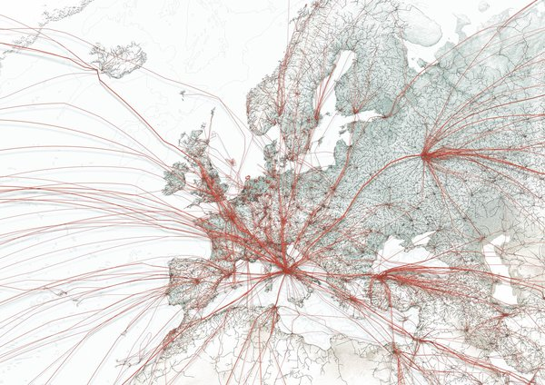 Using blood flow-like visualizations of world flights.