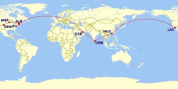 CMB-DXB-JFK-ALB-DEN-LAX-HKG-CMB