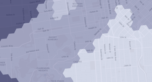 Randomly generated hexagonal clusters cover the city of San Francisco.