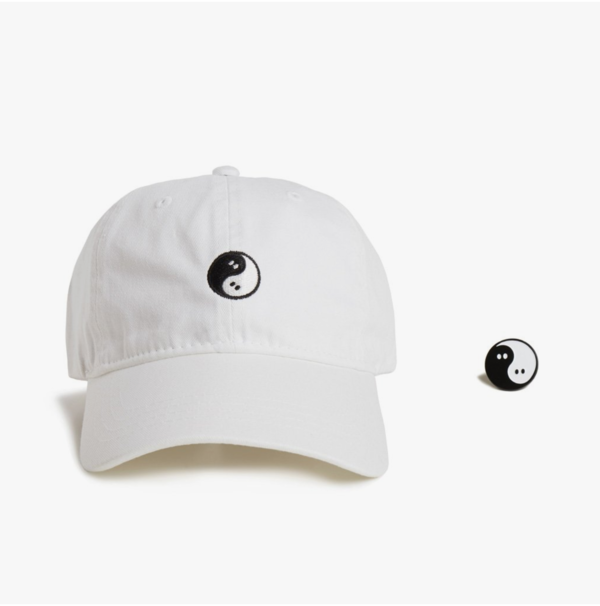 White Yin Yang Hat + Yin Yang Pin (Ghostly International)