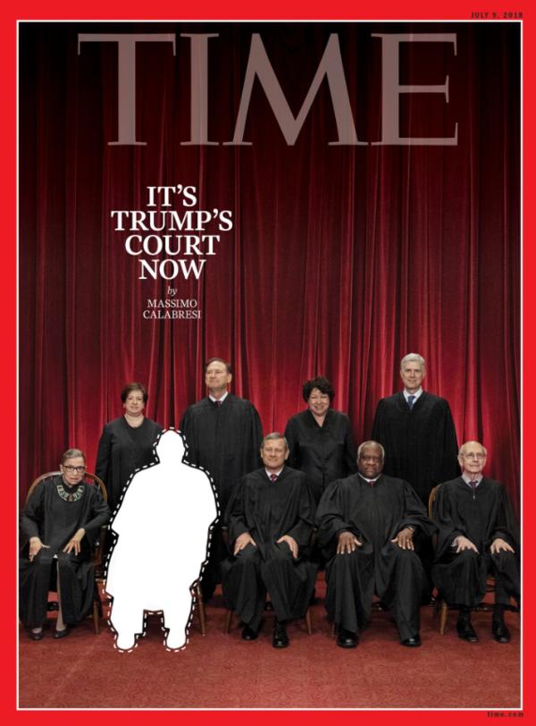 De cover van Time Magazine over Trumps aanstaande keuze voor het Hooggerechtshof (foto: https://twitter.com/search?f=images&vertical=news&q=time%20magazine%20cover&src=typd )
