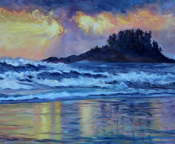 """Chesterman Beach Sunset"" 20 x 24 inch oil on canvas"