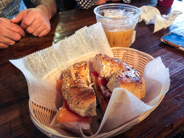 Everything bagel with lox @ Cup of Brooklyn