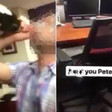 Analyst appears to quit by spraying champagne all over boss' office
