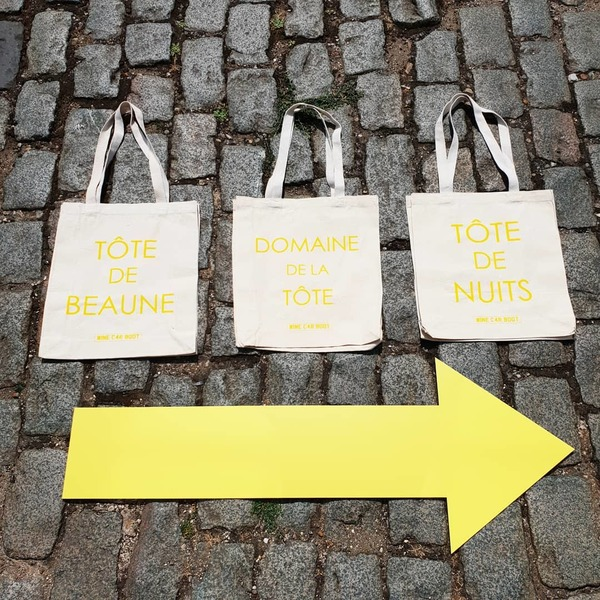 Wine-pun tote bags @winecarboot: