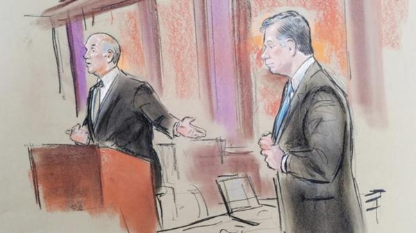Een schets van Paul Manafort (rechts) tijdens de eerste zittingsdag (foto: Reuters)