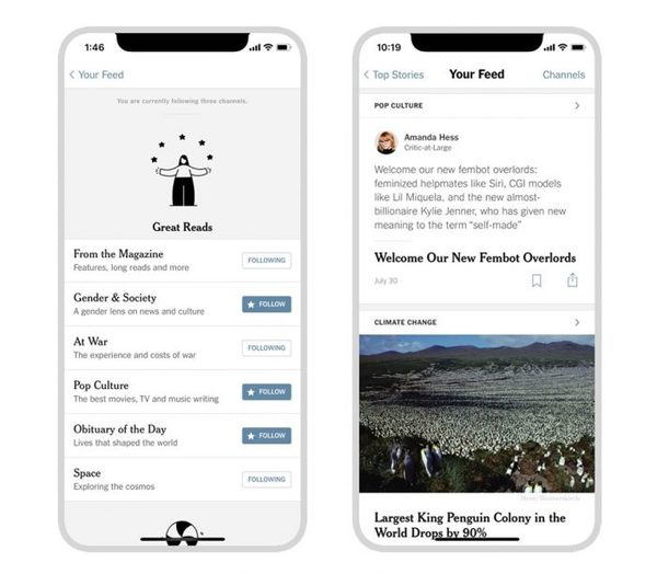 """With """"Your Feed,"""" The New York Times lets iOS users follow topics and journalists"""