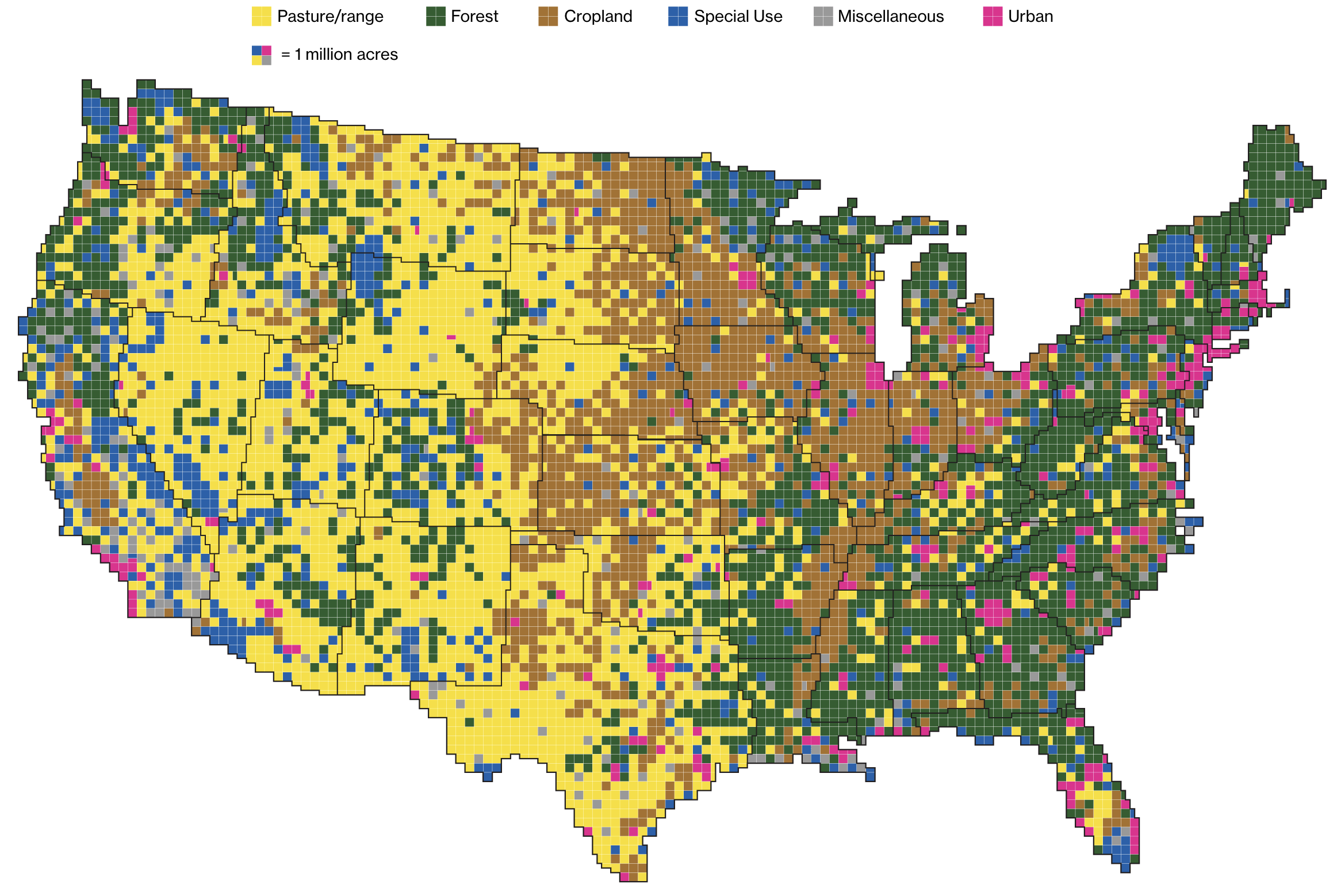 """Here's how America Uses its Land"". The article goes much deeper."