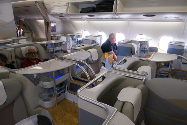 Smaller business class cabin in a 1-2-1 configuration