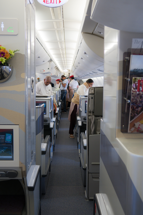 Looking into the larger Business Class cabin from the smaller rear Business Class cabin