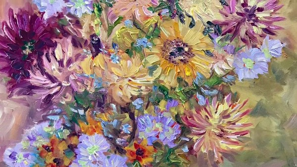 The Painting of the Sunshine bouquet by Terrill Welch - YouTube