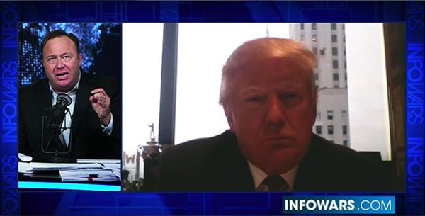 Trump trad tijdens de verkiezingscampagne geregeld op in de show van Alex Jones