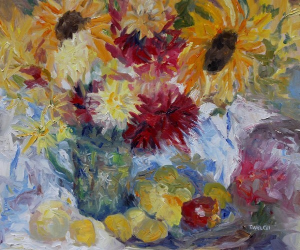 Plums, Apples and Mostly Sunflowers  by Terrill | Artwork Archive