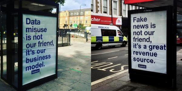 Facebook's ads in London #improved - Credit: Protest Stencil