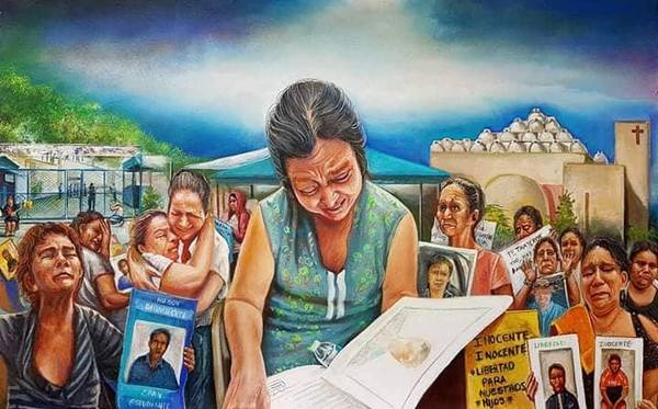 Zuniga, Danilo. Amor de abuela. Acrylic on canvas. Nicaragua, 2018. This painting represents the mothers and grandmothers who have lost their children in Nicaragua's sociopolitical crisis.