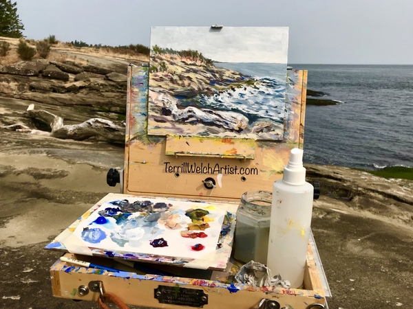 Plein air painting at Bellhouse Park on Galiano Island