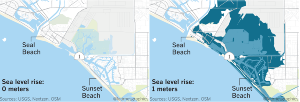 Effect of a one-meter rise in the sea level at Seal Beach, CA