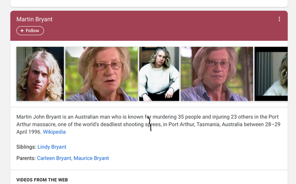 The top of a Google search for me. That's definitely not me.