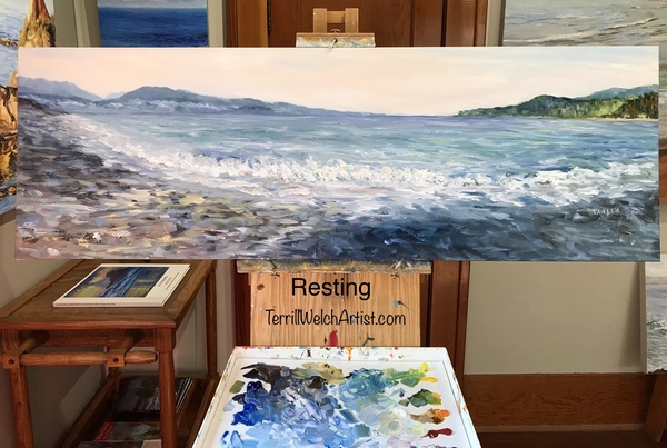 """Gordon's Beach Vancouver Island"" resting  16 x 48 inch oil on canvas"