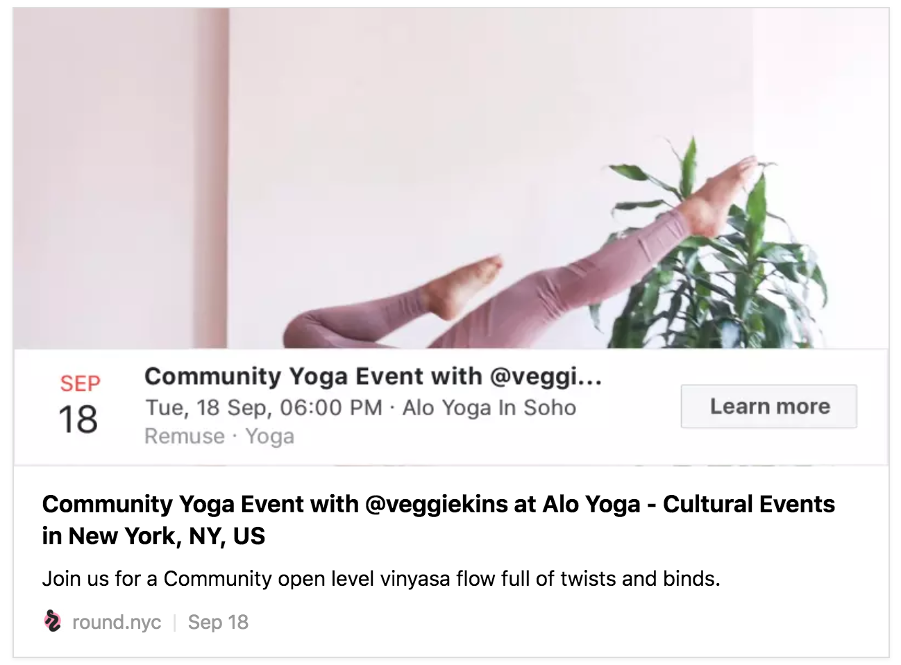 Remy's upcoming event at Alo Yoga in SoHo
