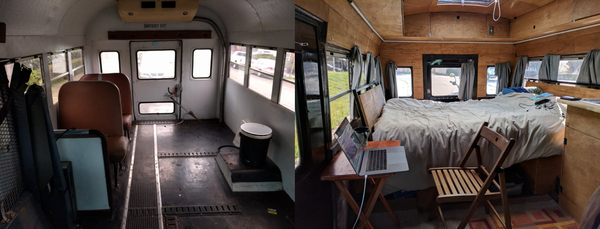Before & After pictures of the inside of the bus