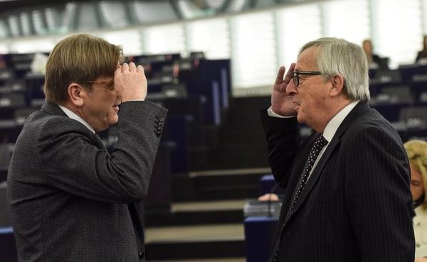 Guy Verhofstadt en Jean-Claude Juncker