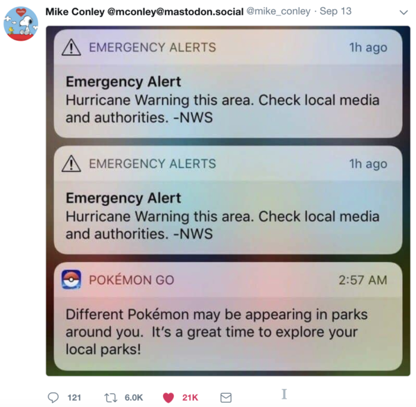 Don't look for Pokemon during weather warnings...