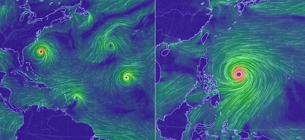 Supertajfun, huragan i jeszcze 5 cyklonów tropikalnych – oceany szaleją – Crazy Nauka