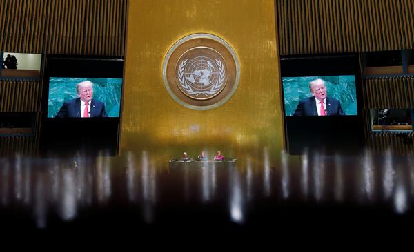 Trump spreekt de Verenigde Naties toe (foto: Reuters)